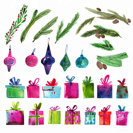 Watercolor Christmas set with gift boxes, holly branches and toys isolated on white background. Watercolor art. Raster version. Christmas decoration elements. Stockfoto