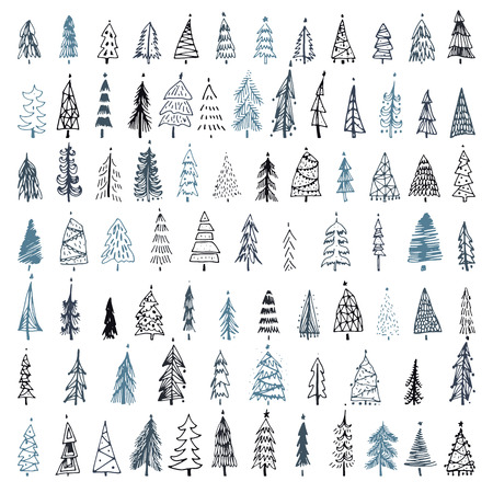 Set of hand drawn christmas tree. Holiday decoration isolated elements. Vector illustration. Use for Greeting Scrapbooking, Congratulations, Invitations. 免版税图像 - 99317764