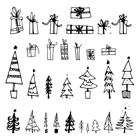 Set of hand drawn christmas tree and gift. Holiday decoration isolated elements. Vector illustration. Use for Greeting Scrapbooking, Congratulations, Invitations.