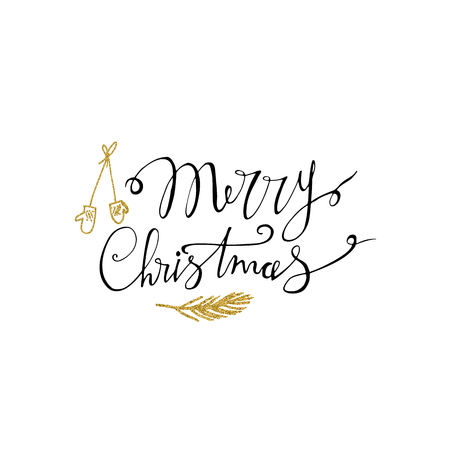 Merry Christmas hand drawn lettering with gold glitter branch 免版税图像 - 99320662