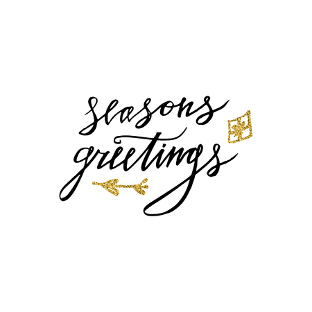 Season's Greetings card with Christmas present design 免版税图像 - 99320663