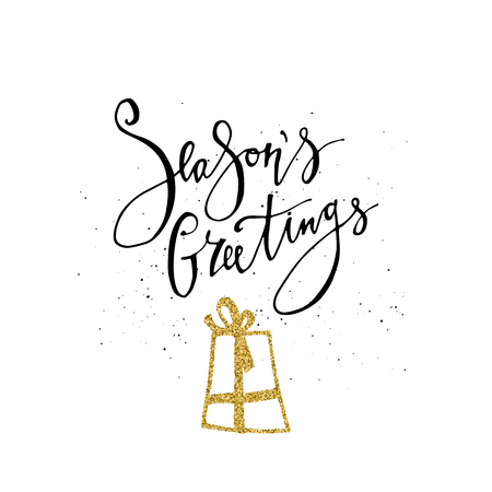 Season's Greetings Calligraphy phrase with gold glitter present