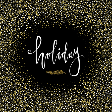 Holiday Calligraphy phrase with gold glitter Christmas branch