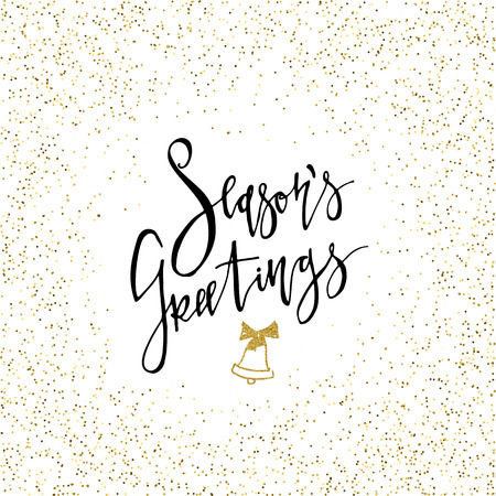 Seasons Greetings Calligraphy with gold glitter bell Stock Illustratie