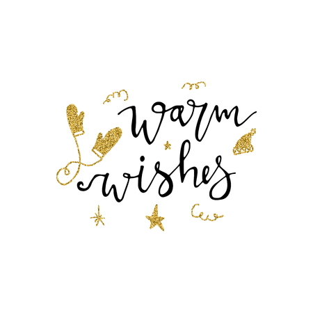 Warm wishes brush calligraphy template design Illustration