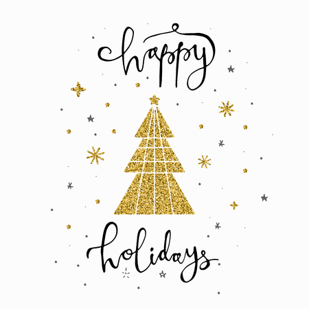 Happy holidays calligraphy with gold glitter tree and snowflakes