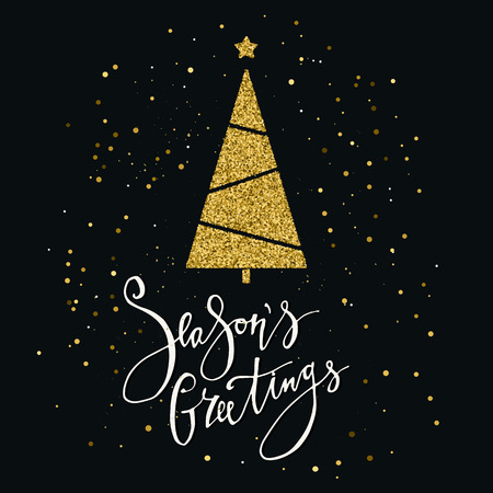 Season's Greetings card with gold glitter tree and snowflake 免版税图像 - 99320669