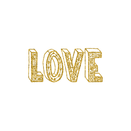 Love gold lettering design
