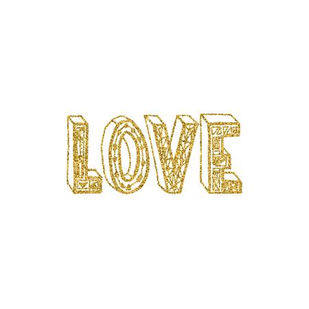 Love gold lettering design 免版税图像 - 99323371