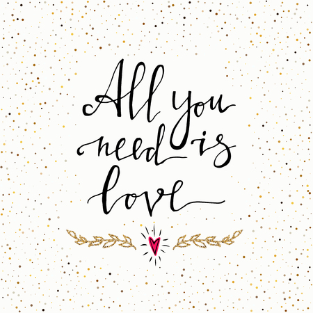 All you need is love hand lettering design 免版税图像 - 99323375