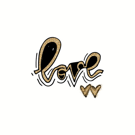 Love hand lettering romantic card with gold glitter hearts. Hand drawn lettering. Used for greeting card, banner, poster, congratulate. printing. Vector typography poster, romantic quote. 免版税图像 - 99320708