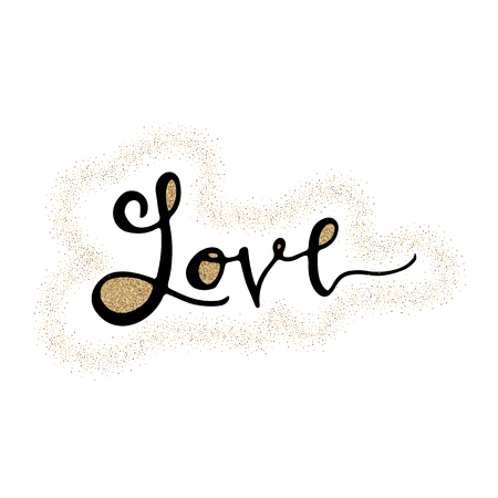 Love hand lettering romantic card with gold glitter heart. Hand drawn lettering. Used for greeting card, banner, poster, congratulate. printing. Vector typography poster, romantic quote. 免版税图像 - 99320709
