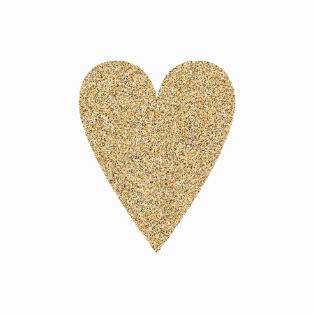 Golden hand drawn heart on white background. Heart from gold sparkles. Used for wedding card, valentine, save the date.