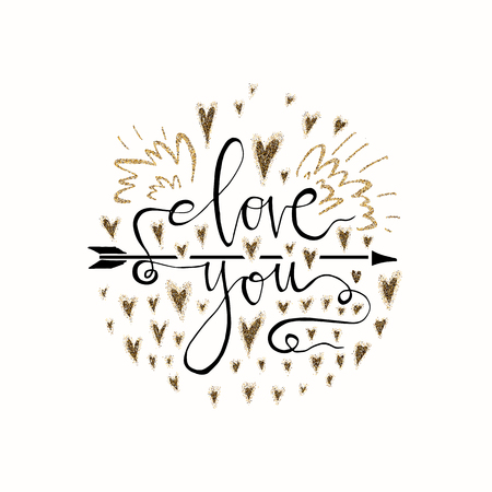 Love you lettering romantic card with gold glitter heart. Hand drawn lettering. Used for greeting card, banner, poster, congratulate. printing. Vector typography poster, romantic quote. 免版税图像 - 99320710