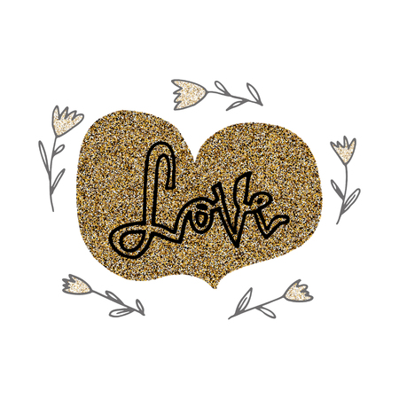 Love hand lettering romantic card with gold glitter hearts and flowers. Hand drawn lettering. Used for greeting card, banner, poster, congratulate. printing. Vector typography poster, romantic quote. 免版税图像 - 99322172