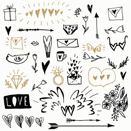 Zestaw romantycznych elementów wektorowych w projekt bazgroły. Używany do kartki z życzeniami, banera, plakatu, pogratulować. druk. Ilustracje wektorowe