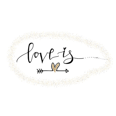 Love you hand lettering romantic card with gold glitter heart and bird. Hand drawn lettering. Used for greeting card, banner, poster, congratulate. printing. Vector typography poster, romantic quote.