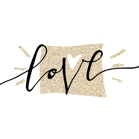 Love hand lettering romantic card with gold glitter letter. Hand drawn lettering. Used for greeting card, banner, poster, congratulate. printing. Vector typography poster, romantic quote. Ilustração