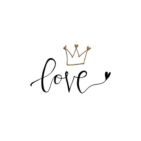 Love hand lettering romantic card with gold glitter texture and crown. Hand drawn lettering. Used for greeting card, banner, poster, congratulate. printing. Vector typography poster, romantic quote. Stock Illustratie