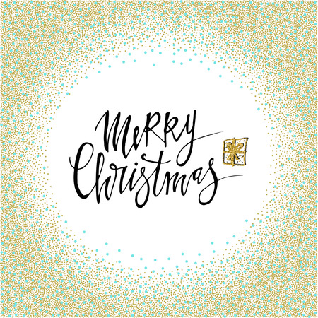 Merry Christmas postcard with gold glitter circle texture. Modern lettering isolated on white background. Christmas card concept. Handwritten modern brush lettering for winter holidays Stock Illustratie
