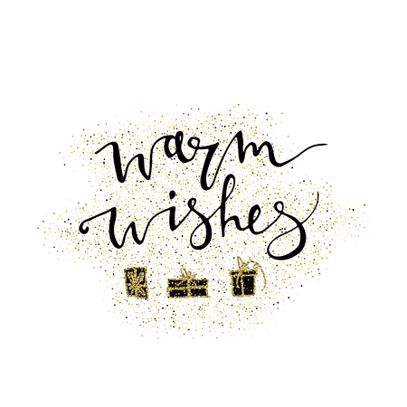 Warm wishes handmade lettering with gold glitter gift. Perfect for Christmas New Year cards and banners. Used for greeting card, valentines day, banner, poster, congratulate 免版税图像 - 100774947