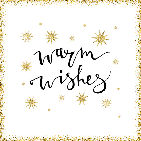 Warm wishes handmade lettering with gold glittersnowflakes. Perfect for Christmas New Year cards and banners. Used for greeting card, valentines day, banner, poster, congratulate 免版税图像 - 101053896