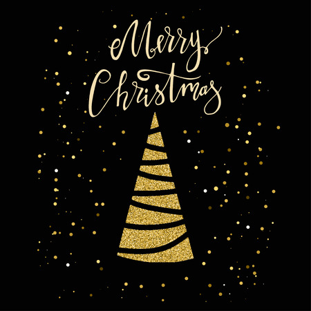Merry Christmas card with gold glitter Christmas tree and snowflake. Modern lettering. New Year card. Used for greeting card, valentines day, banner, poster, congratulate. Isolated on dark background