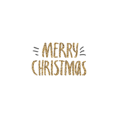 Merry Christmas hand drawn lettering with gold glitter texture. Handwritten modern brush lettering. Perfect for greeting cards