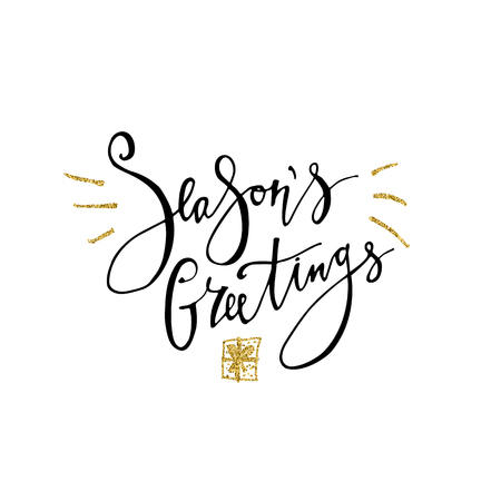 Seasons Greetings card. Calligraphy phrase with gold glitter present. Modern lettering. New Year card. Used for greeting card, valentines day, banner, poster, congratulate 免版税图像
