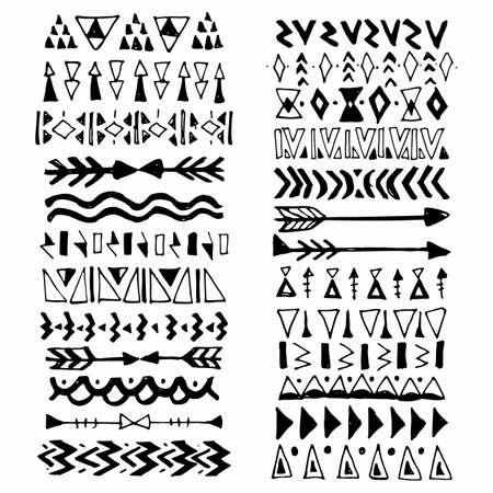 Collection of handdrawn borders in ethnic style. Aztec art dividers.Ink borders. Vector dividers.