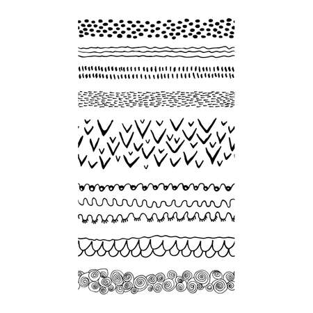 Set of Hand Drawn Borders in Ethnic Style. Aztec art dividers. Tribal background. Can be used in fabric design for making of clothes, accessories; creating decorative paper, wrapping.