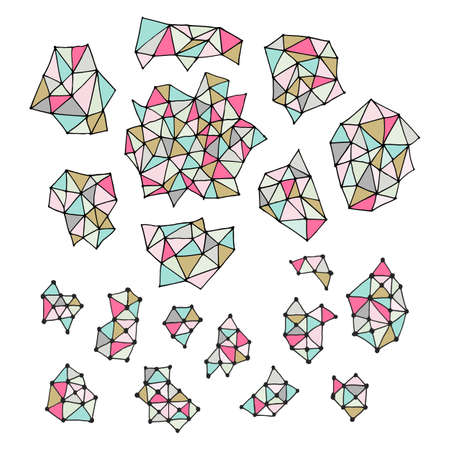 Set of hand drawn polygon triangles. Pastel colored dynamic backdrop. Isolated on white backdrop.