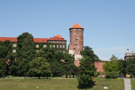 wawel: wawel hill with castle, krakow, poland
