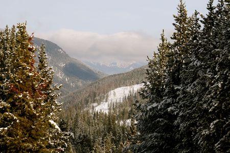radium: winter in mountains, british columbia, canada