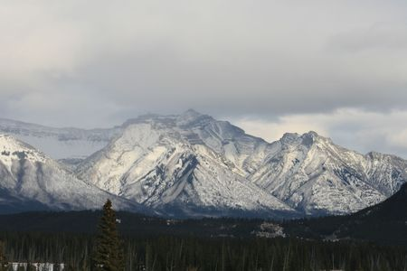 banff national park in white, canada photo