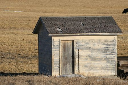 timber cottage, canadian prairie photo