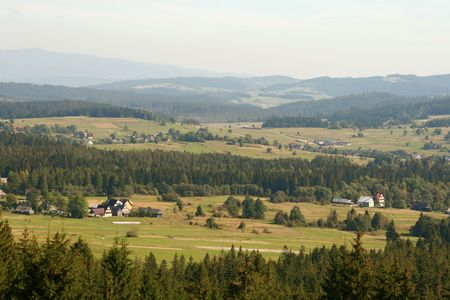 tatry: village below the tatry mountains Stock Photo