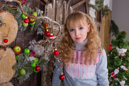 Beautiful girl posing in Christmas decorations. Girl greet the new year.