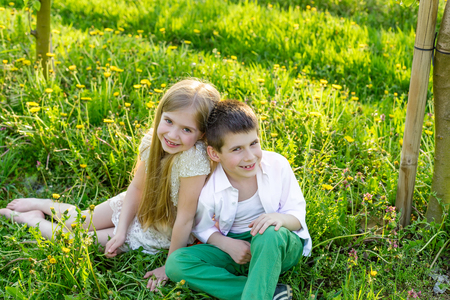 Sister and brother are resting in a blooming garden in the spring. Children have fun in the apple orchard before sunset. Beautiful happy boy and girl in the flowered garden in the rays of the setting sun