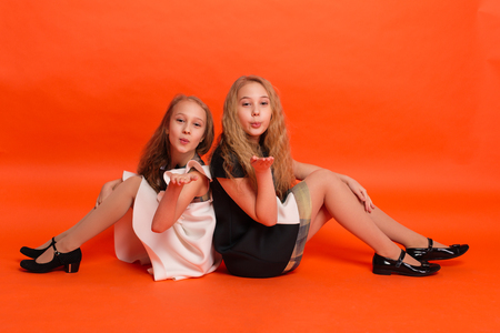 Two sisters in beautiful stylized dresses on a red background in the studio. Two blonde girls posing in studio