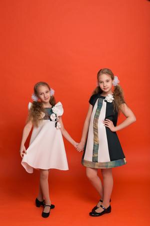 Deux soeurs dans de belles robes stylisées sur un fond rouge dans le studio. Deux filles blondes posant en studio