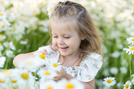 A little girl on a chamomile field. Child with daisies Stock Photo
