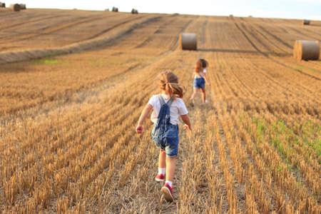 Girlfriends run on a sloping field in summer