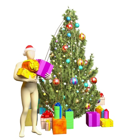 person gives a gift at Christmas tree on a white background photo
