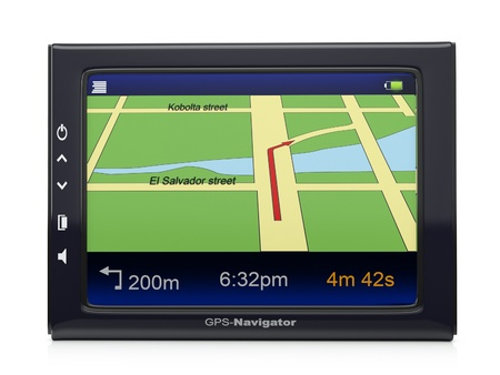 Images 3d  gps-navigator with a card of territory and the specified route of movement Stock Photo - 12907999