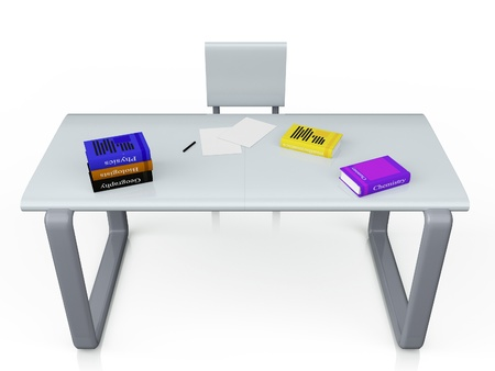 writing chair: 3d image on a metal table next to the chair are books on a white background Stock Photo