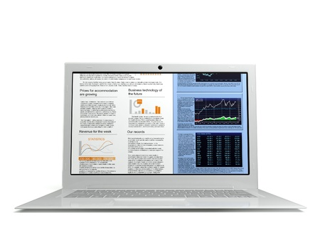 powerbook: 3d illustration white laptop on a white background, isolate
