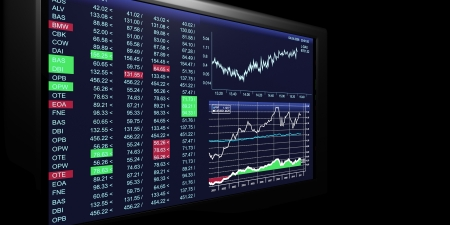 stock trading: TV Illustration  business graphics on TV, the stock exchange trading