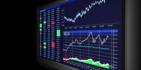 flat screen tv: TV Illustration  business graphics on TV, the stock exchange trading