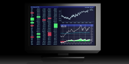 television screen: TV Illustration  business graphics on TV, the stock exchange trading